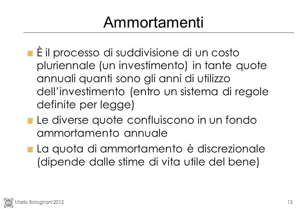 Mario Bolognani 201213 Ammortamenti È il processo di suddivisione di un costo pluriennale (un investimento) in tante quote annuali quanti sono gli ann