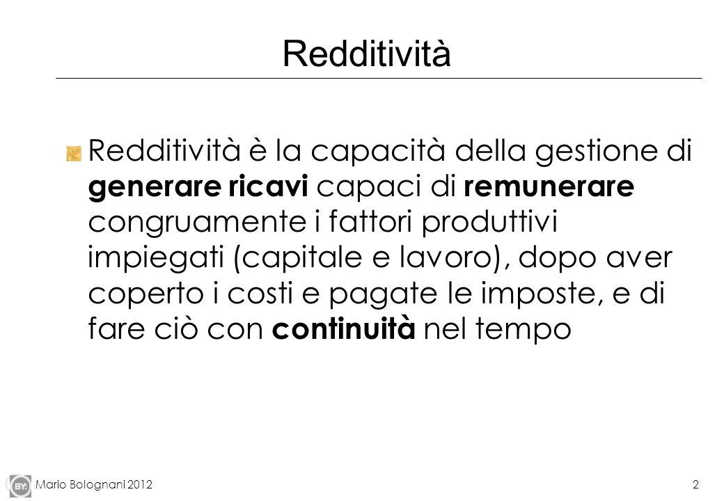 Mario Bolognani 20122 Redditività Redditività è la capacità della gestione di generare ricavi capaci di remunerare congruamente i fattori produttivi i