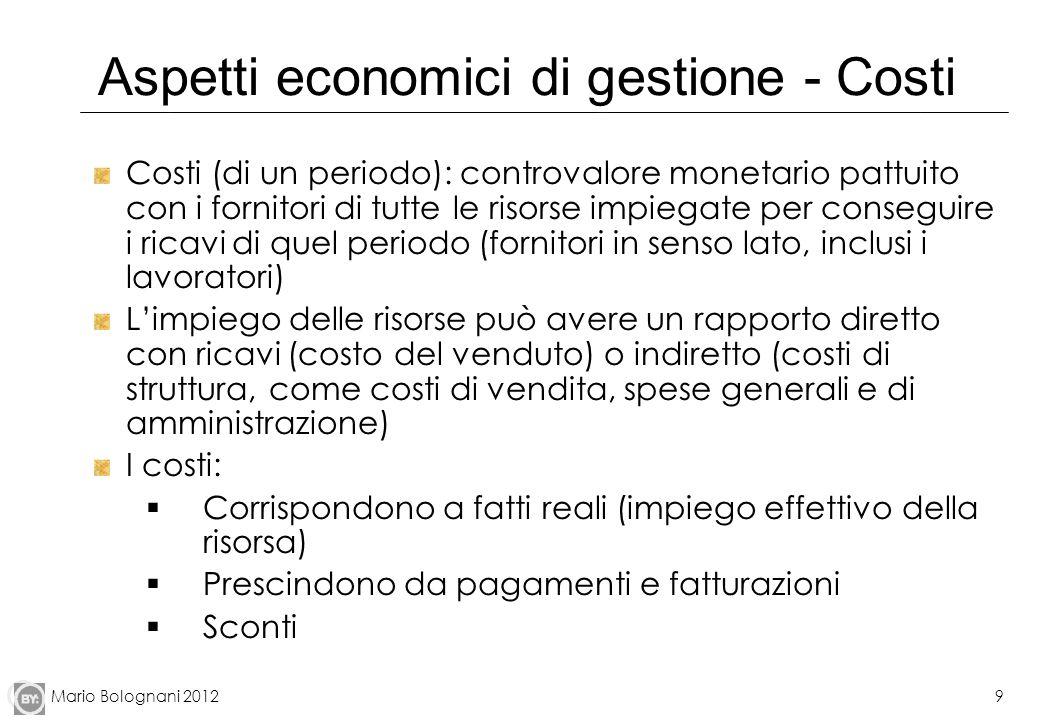 Mario Bolognani 20129 Aspetti economici di gestione - Costi Costi (di un periodo): controvalore monetario pattuito con i fornitori di tutte le risorse