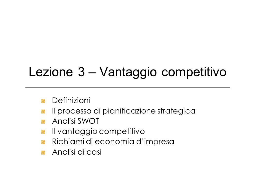 Lezione 3 – Vantaggio competitivo Definizioni Il processo di pianificazione strategica Analisi SWOT Il vantaggio competitivo Richiami di economia dimp