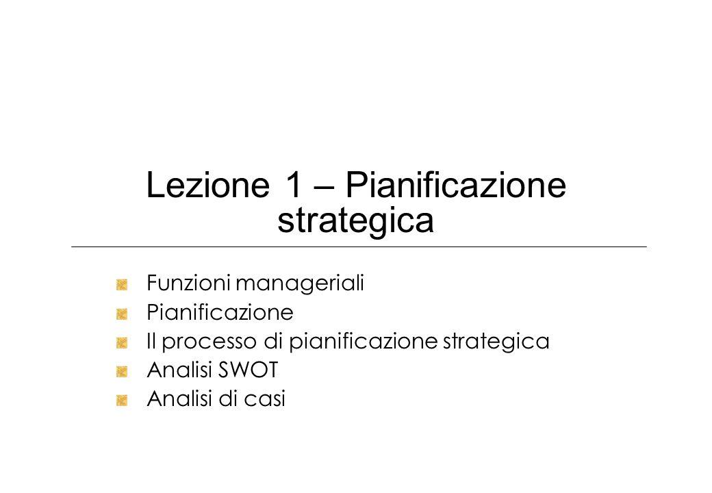 Lezione 1 – Pianificazione strategica Funzioni manageriali Pianificazione Il processo di pianificazione strategica Analisi SWOT Analisi di casi