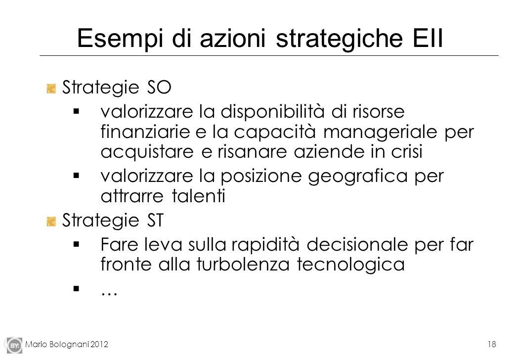 Mario Bolognani 201218 Esempi di azioni strategiche EII Strategie SO valorizzare la disponibilità di risorse finanziarie e la capacità manageriale per