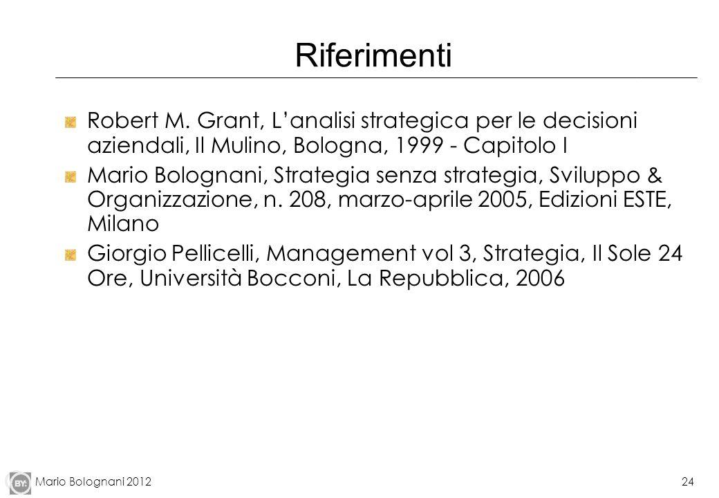Mario Bolognani 201224 Riferimenti Robert M. Grant, Lanalisi strategica per le decisioni aziendali, Il Mulino, Bologna, 1999 - Capitolo I Mario Bologn