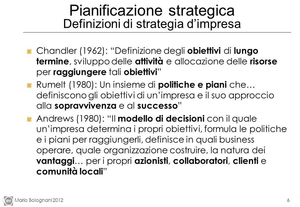 Mario Bolognani 20126 Pianificazione strategica Definizioni di strategia dimpresa Chandler (1962): Definizione degli obiettivi di lungo termine, svilu