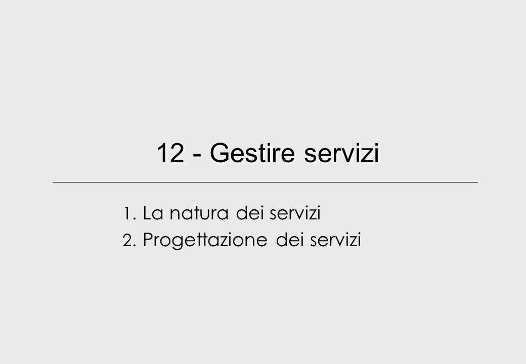 12 - Gestire servizi 1. La natura dei servizi 2. Progettazione dei servizi