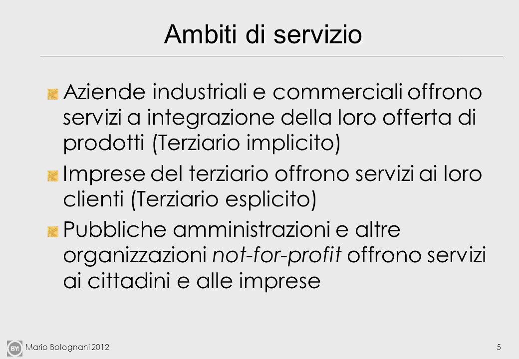 Mario Bolognani 20125 Ambiti di servizio Aziende industriali e commerciali offrono servizi a integrazione della loro offerta di prodotti (Terziario im