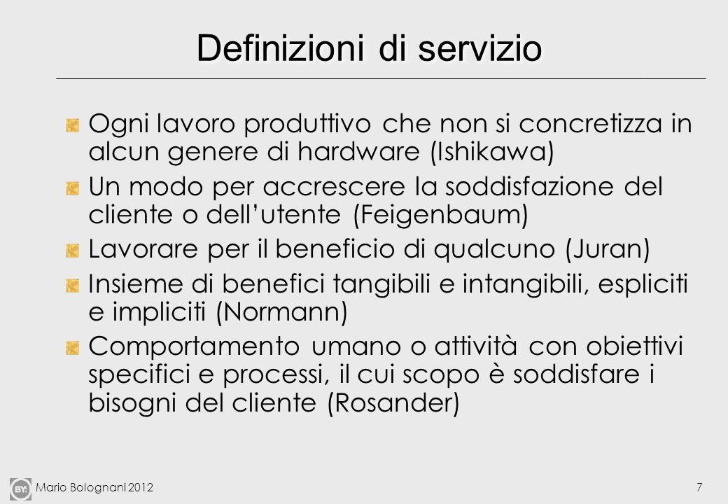 Mario Bolognani 20127 Definizioni di servizio Ogni lavoro produttivo che non si concretizza in alcun genere di hardware (Ishikawa) Un modo per accresc