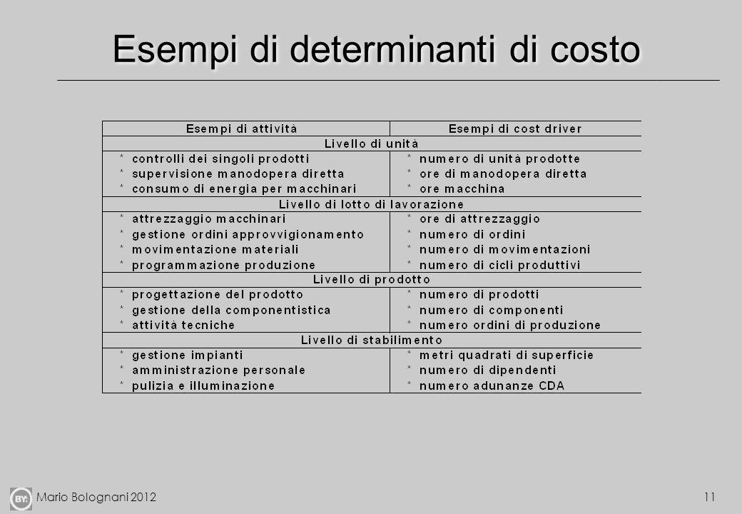 Mario Bolognani 201211 Esempi di determinanti di costo