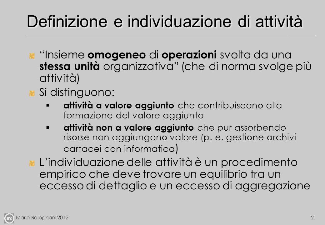 Mario Bolognani 20122 Definizione e individuazione di attività Insieme omogeneo di operazioni svolta da una stessa unità organizzativa (che di norma s