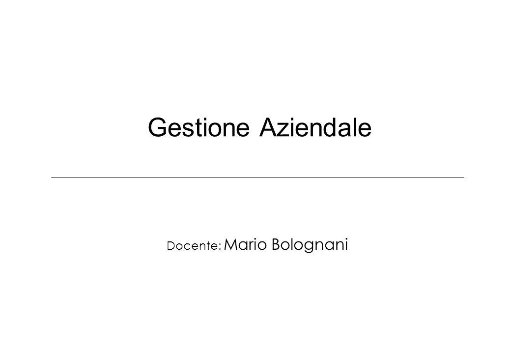 Gestione Aziendale Docente: Mario Bolognani