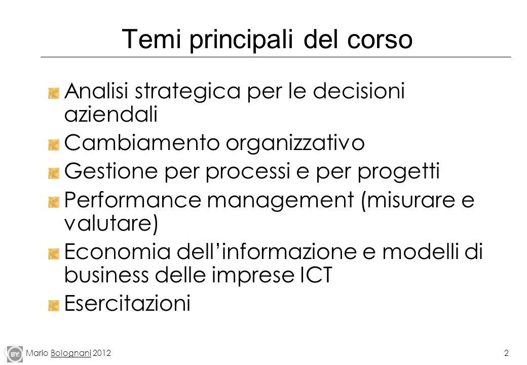 Mario Bolognani 20122 Temi principali del corso Analisi strategica per le decisioni aziendali Cambiamento organizzativo Gestione per processi e per pr