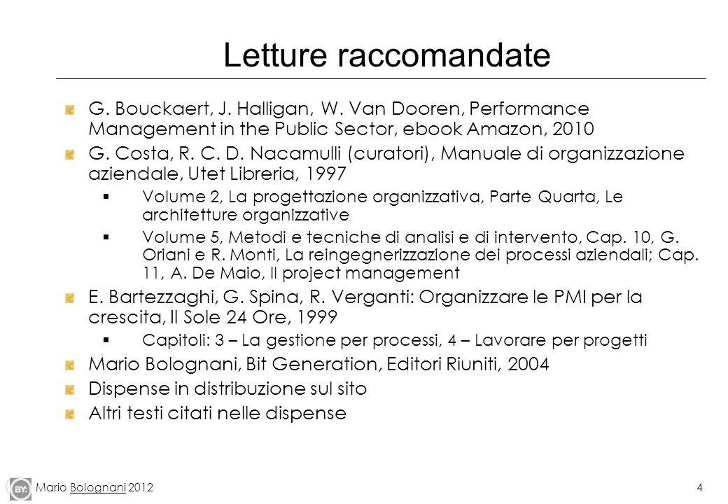 Mario Bolognani 20124 Letture raccomandate G. Bouckaert, J. Halligan, W. Van Dooren, Performance Management in the Public Sector, ebook Amazon, 2010 G