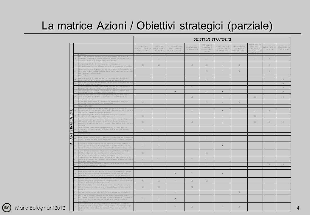 Mario Bolognani 20124 La matrice Azioni / Obiettivi strategici (parziale)
