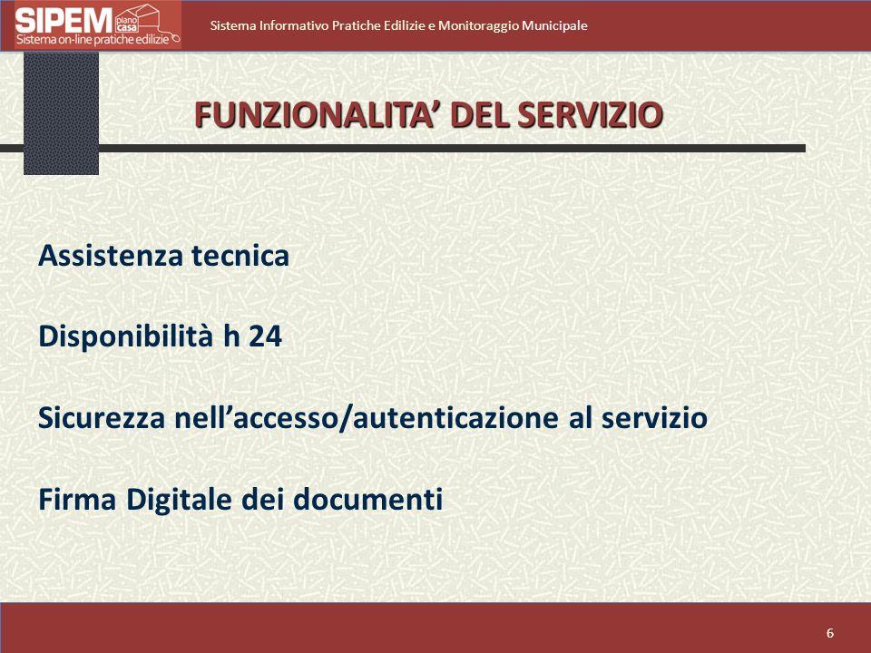 6 Sistema Informativo Pratiche Edilizie e Monitoraggio Municipale Assistenza tecnica Disponibilità h 24 Sicurezza nellaccesso/autenticazione al servizio Firma Digitale dei documenti FUNZIONALITA DEL SERVIZIO