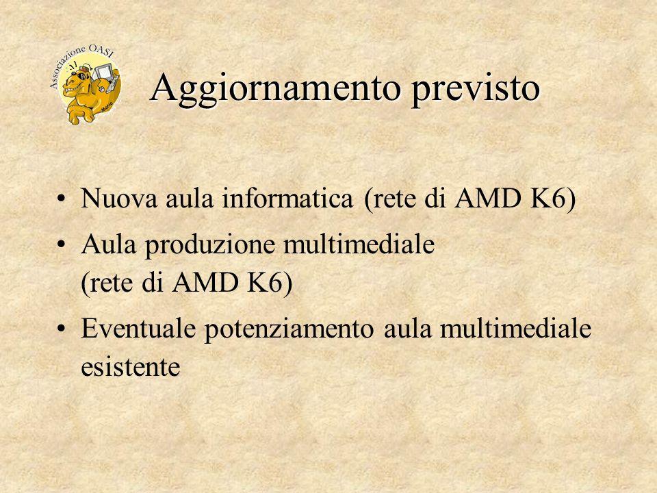 Aggiornamento previsto Nuova aula informatica (rete di AMD K6) Aula produzione multimediale (rete di AMD K6) Eventuale potenziamento aula multimediale