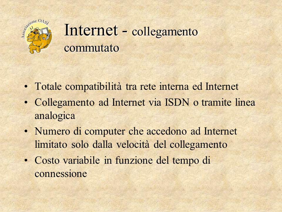 Internet - collegamento commutato Totale compatibilità tra rete interna ed Internet Collegamento ad Internet via ISDN o tramite linea analogica Numero