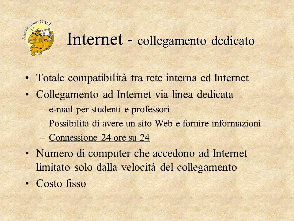 Internet - collegamento dedicato Totale compatibilità tra rete interna ed Internet Collegamento ad Internet via linea dedicata –e-mail per studenti e