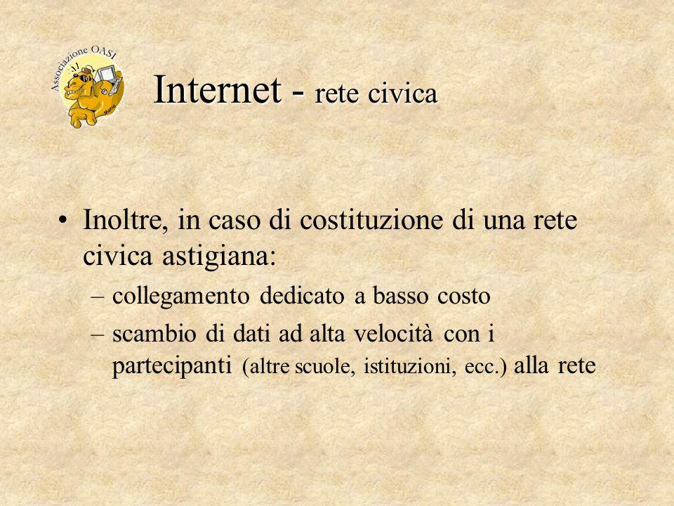 Internet - rete civica Inoltre, in caso di costituzione di una rete civica astigiana: –collegamento dedicato a basso costo –scambio di dati ad alta ve
