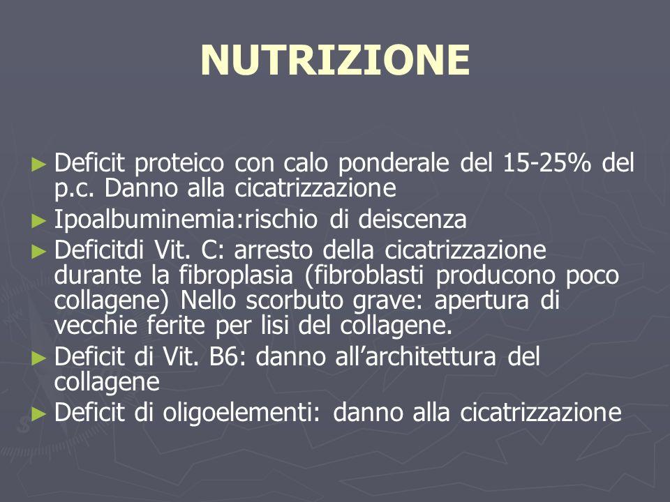 NUTRIZIONE Deficit proteico con calo ponderale del 15-25% del p.c. Danno alla cicatrizzazione Ipoalbuminemia:rischio di deiscenza Deficitdi Vit. C: ar