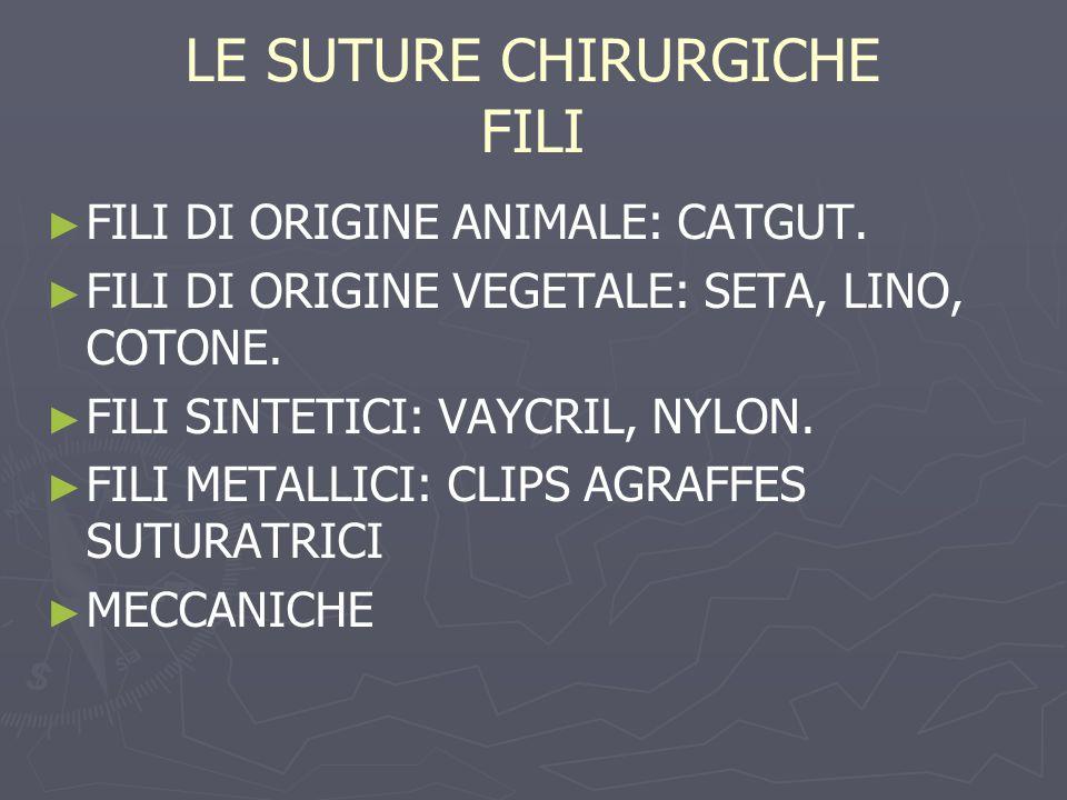 LE SUTURE CHIRURGICHE FILI FILI DI ORIGINE ANIMALE: CATGUT. FILI DI ORIGINE VEGETALE: SETA, LINO, COTONE. FILI SINTETICI: VAYCRIL, NYLON. FILI METALLI