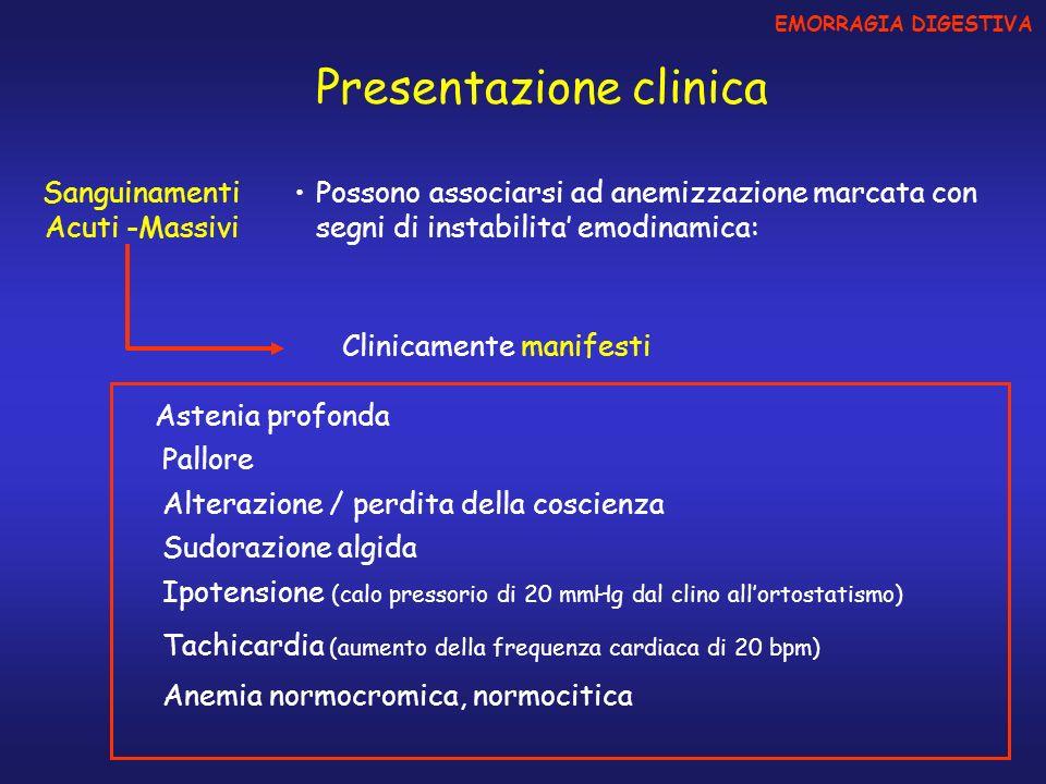 Sanguinamenti Acuti -Massivi EMORRAGIA DIGESTIVA Presentazione clinica Possono associarsi ad anemizzazione marcata con segni di instabilita emodinamic