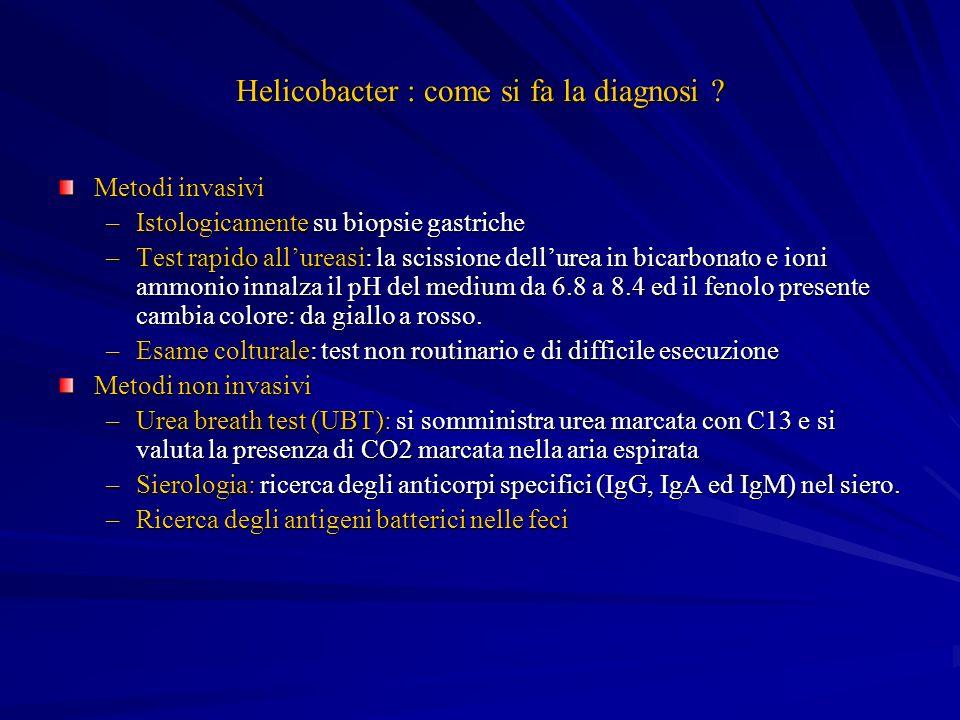 Helicobacter : come si fa la diagnosi ? Metodi invasivi –Istologicamente su biopsie gastriche –Test rapido allureasi: la scissione dellurea in bicarbo