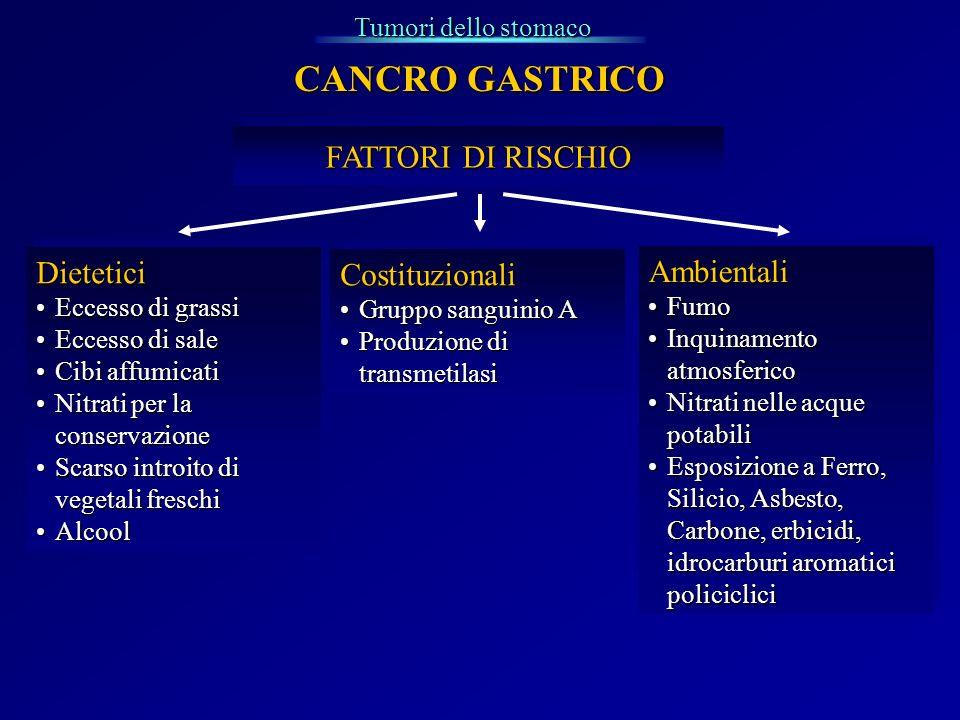 Tumori dello stomaco Dietetici Eccesso di grassiEccesso di grassi Eccesso di saleEccesso di sale Cibi affumicatiCibi affumicati Nitrati per la conserv