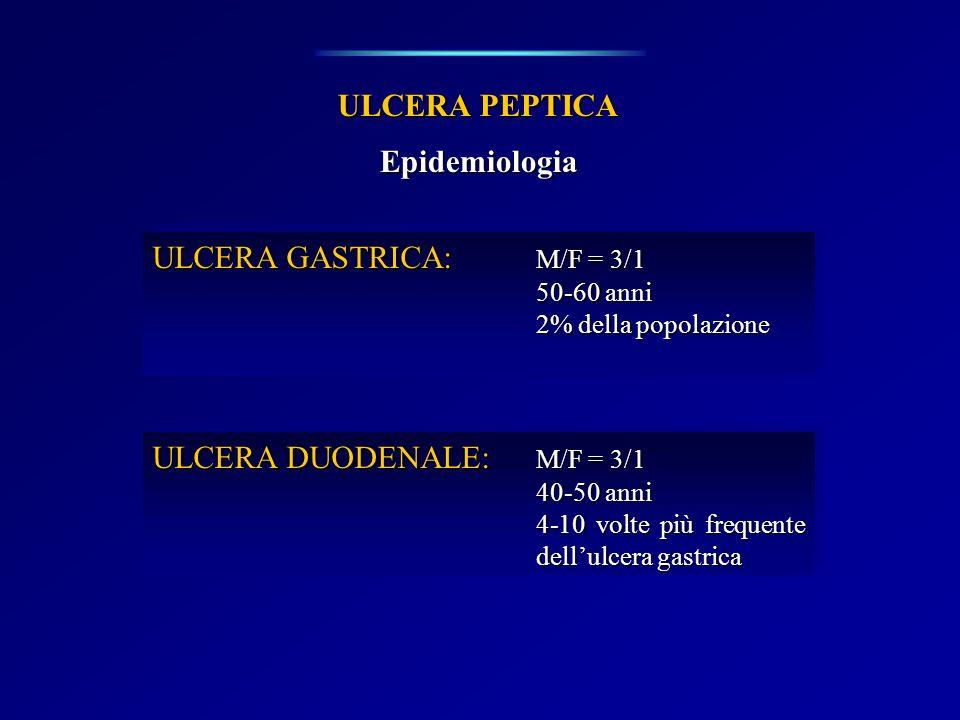 ULCERA PEPTICA Clinica ULCERA GASTRICA: Dolore epigastrico postprandiale precoce (<30 min dal pasto) Pirosi epigastrica Anemia sideropenica Vomito (se stenosi cicatriziale) ULCERA GASTRICA: Dolore epigastrico postprandiale precoce (<30 min dal pasto) Pirosi epigastrica Anemia sideropenica Vomito (se stenosi cicatriziale) ULCERA DUODENALE: Dolore postprandiale tardivo (>90 min dal pasto) Nausea e vomito (spasmo riflesso del piloro) Recrudescenza tipica stagionale (primavera e autunno) Anemia sideropenica ULCERA DUODENALE: Dolore postprandiale tardivo (>90 min dal pasto) Nausea e vomito (spasmo riflesso del piloro) Recrudescenza tipica stagionale (primavera e autunno) Anemia sideropenica