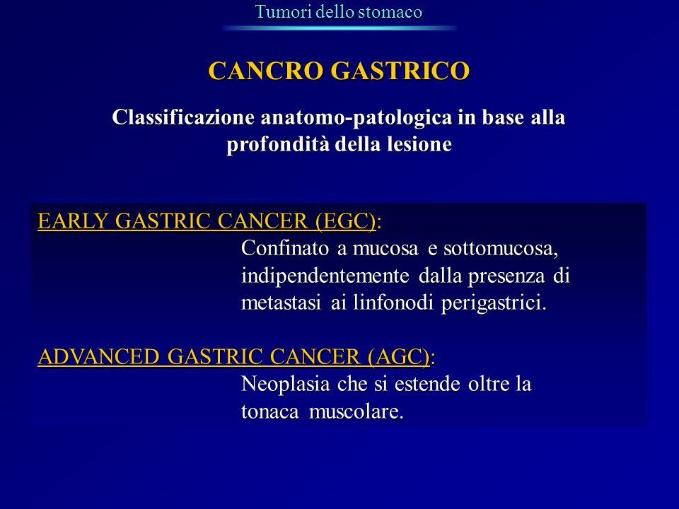 Tumori dello stomaco CANCRO GASTRICO Classificazione anatomo-patologica in base alla profondità della lesione EARLY GASTRIC CANCER (EGC): Confinato a