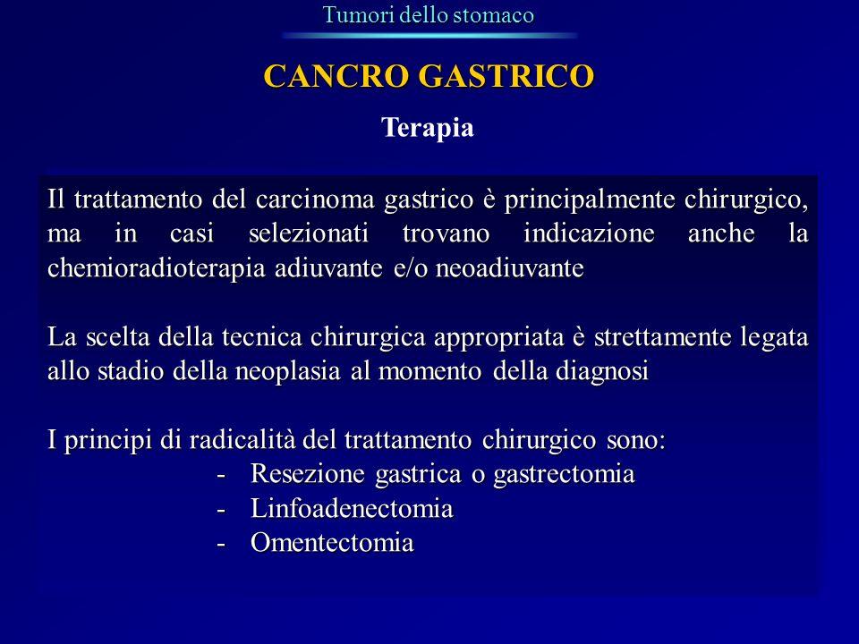 Terapia Tumori dello stomaco CANCRO GASTRICO Il trattamento del carcinoma gastrico è principalmente chirurgico, ma in casi selezionati trovano indicaz