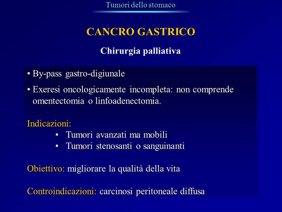 Chirurgia palliativa Tumori dello stomaco CANCRO GASTRICO By-pass gastro-digiunaleBy-pass gastro-digiunale Exeresi oncologicamente incompleta: non com