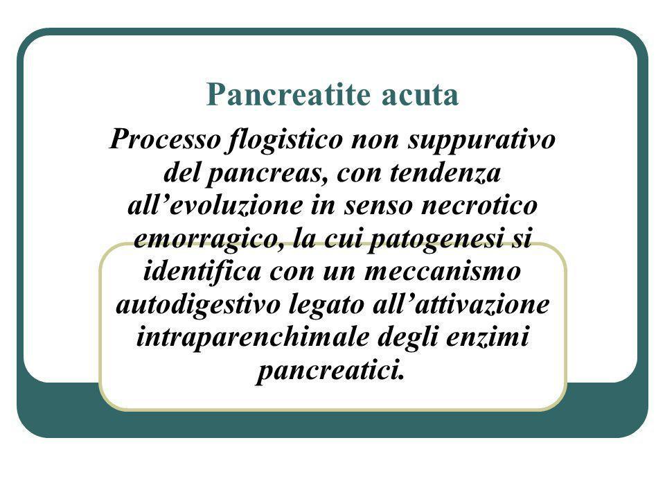 Pancreatite acuta Processo flogistico non suppurativo del pancreas, con tendenza allevoluzione in senso necrotico emorragico, la cui patogenesi si ide