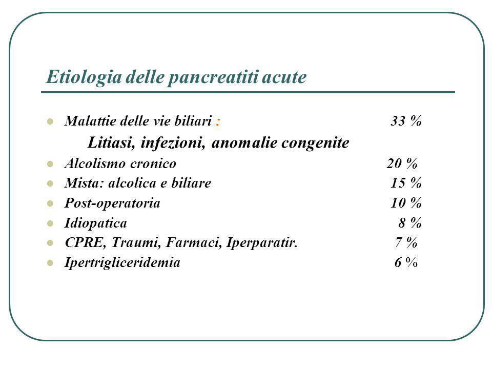 Etiologia delle pancreatiti acute Malattie delle vie biliari :33 % Litiasi, infezioni, anomalie congenite Alcolismo cronico 20 % Mista: alcolica e bil