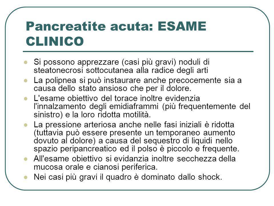 Pancreatite acuta: ESAME CLINICO Si possono apprezzare (casi più gravi) noduli di steatonecrosi sottocutanea alla radice degli arti La polipnea si può