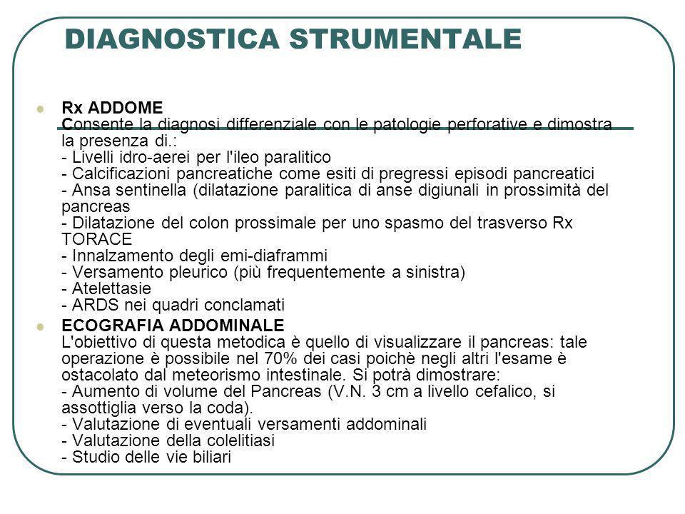 DIAGNOSTICA STRUMENTALE Rx ADDOME Consente la diagnosi differenziale con le patologie perforative e dimostra la presenza di.: - Livelli idro-aerei per