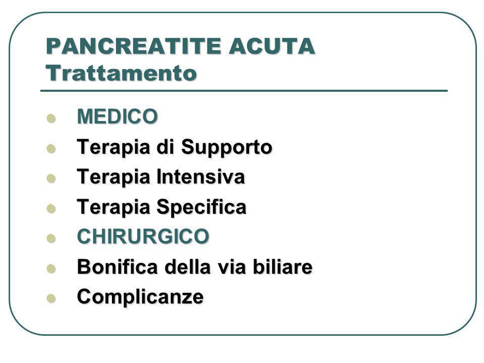 PANCREATITE ACUTA Trattamento MEDICO MEDICO Terapia di Supporto Terapia di Supporto Terapia Intensiva Terapia Intensiva Terapia Specifica Terapia Spec