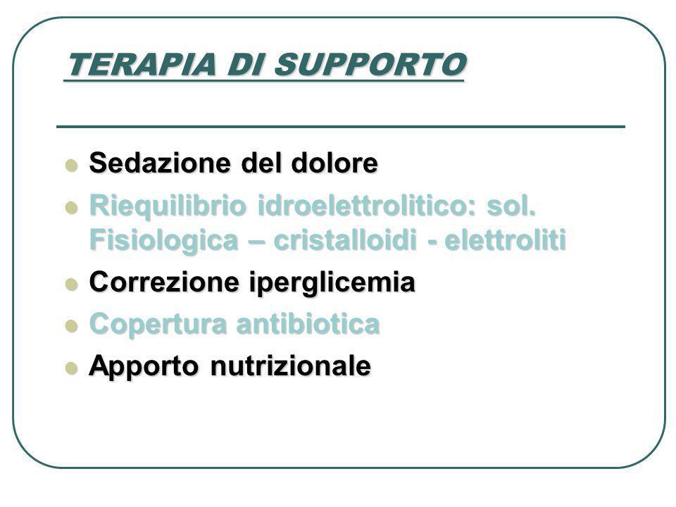 TERAPIA DI SUPPORTO Sedazione del dolore Sedazione del dolore Riequilibrio idroelettrolitico: sol. Fisiologica – cristalloidi - elettroliti Riequilibr