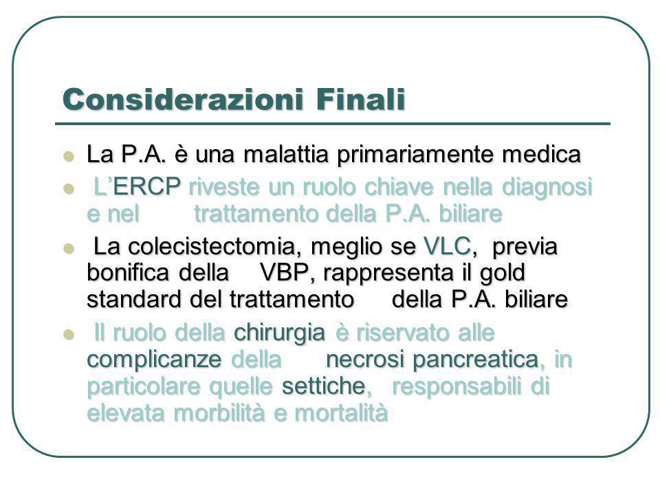 Considerazioni Finali La P.A. è una malattia primariamente medica La P.A. è una malattia primariamente medica LERCP riveste un ruolo chiave nella diag
