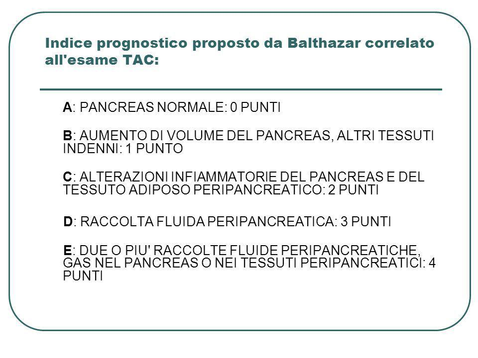 Indice prognostico proposto da Balthazar correlato all'esame TAC: A: PANCREAS NORMALE: 0 PUNTI B: AUMENTO DI VOLUME DEL PANCREAS, ALTRI TESSUTI INDENN