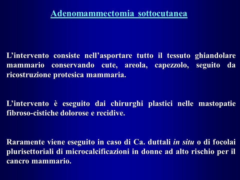 Adenomammectomia sottocutanea Lintervento consiste nellasportare tutto il tessuto ghiandolare mammario conservando cute, areola, capezzolo, seguito da ricostruzione protesica mammaria.
