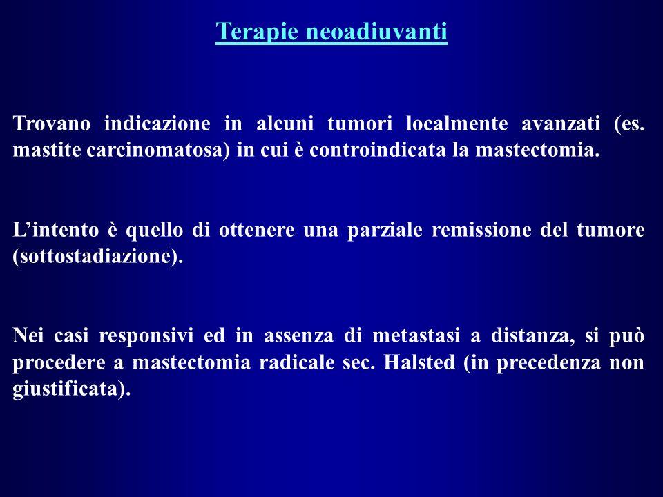 Terapie neoadiuvanti Trovano indicazione in alcuni tumori localmente avanzati (es. mastite carcinomatosa) in cui è controindicata la mastectomia. Lint