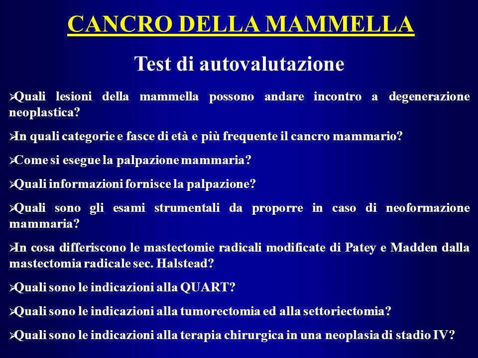 CANCRO DELLA MAMMELLA Test di autovalutazione Quali lesioni della mammella possono andare incontro a degenerazione neoplastica? In quali categorie e f