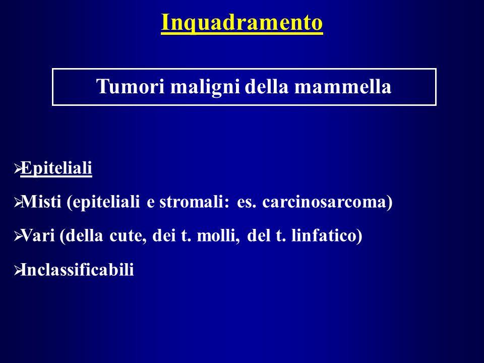 Inquadramento Tumori maligni della mammella Epiteliali Misti (epiteliali e stromali: es.
