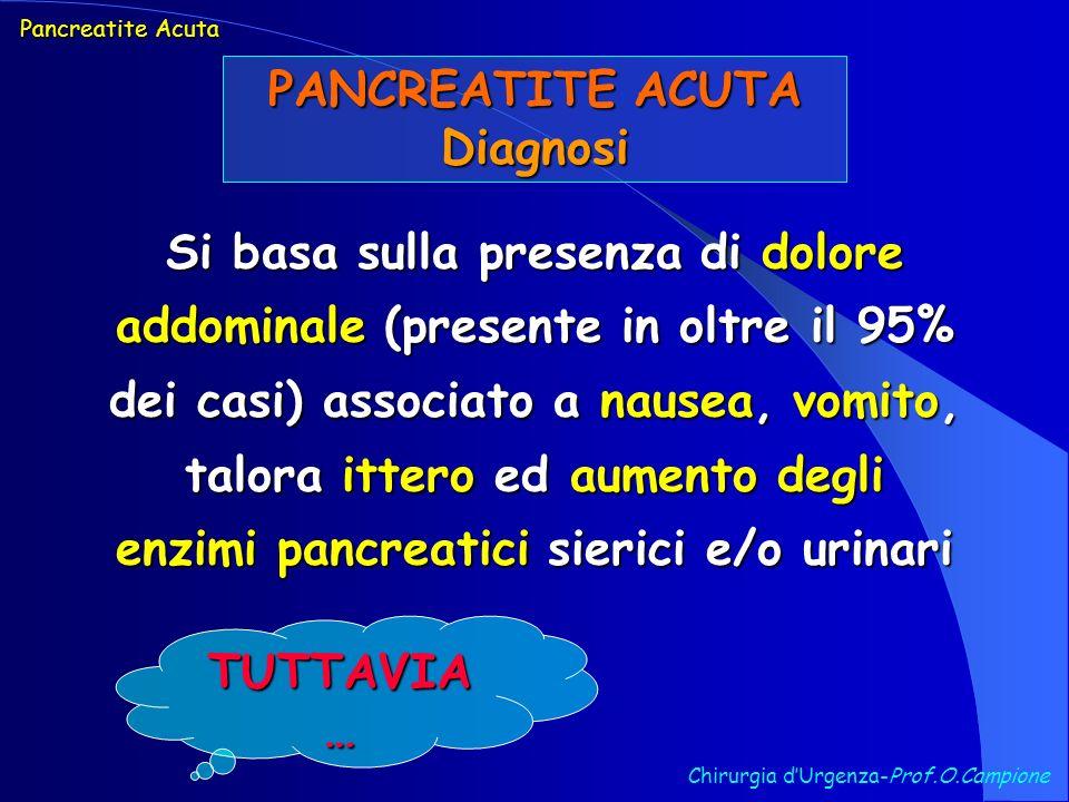 PANCREATITE ACUTA Diagnosi Chirurgia dUrgenza-Prof.O.Campione Si basa sulla presenza di dolore addominale (presente in oltre il 95% dei casi) associat