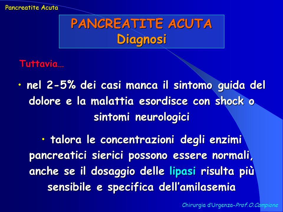 PANCREATITE ACUTA Diagnosi Chirurgia dUrgenza-Prof.O.Campione nel 2-5% dei casi manca il sintomo guida del dolore e la malattia esordisce con shock o