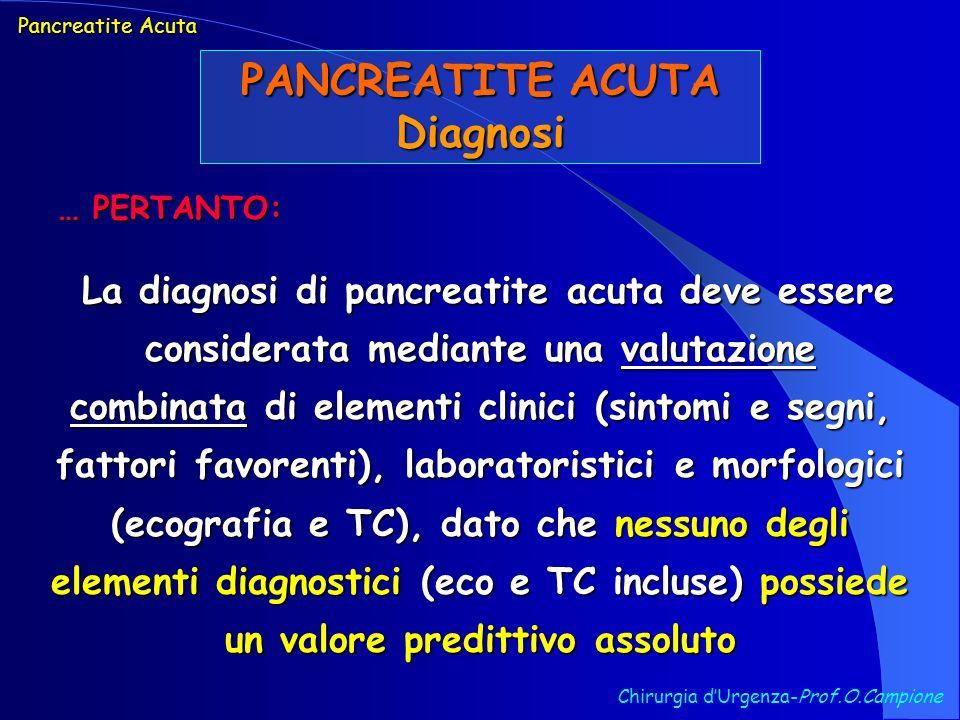 PANCREATITE ACUTA Diagnosi Chirurgia dUrgenza-Prof.O.Campione La diagnosi di pancreatite acuta deve essere considerata mediante una valutazione combin