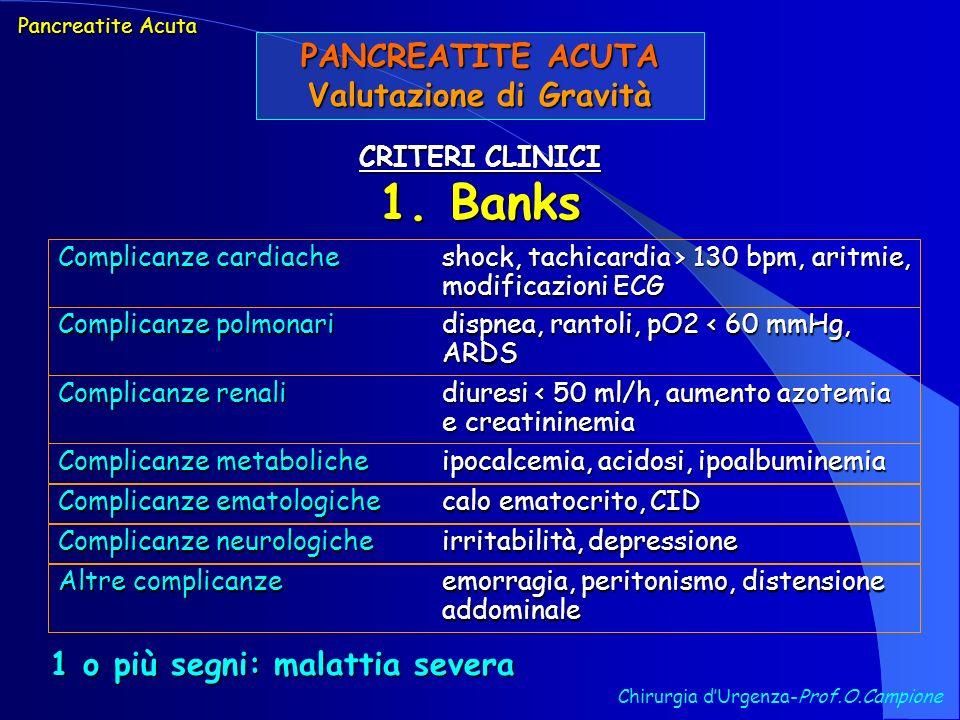 PANCREATITE ACUTA Valutazione di Gravità Chirurgia dUrgenza-Prof.O.Campione CRITERI CLINICI 1. Banks Pancreatite Acuta Complicanze cardiacheshock, tac