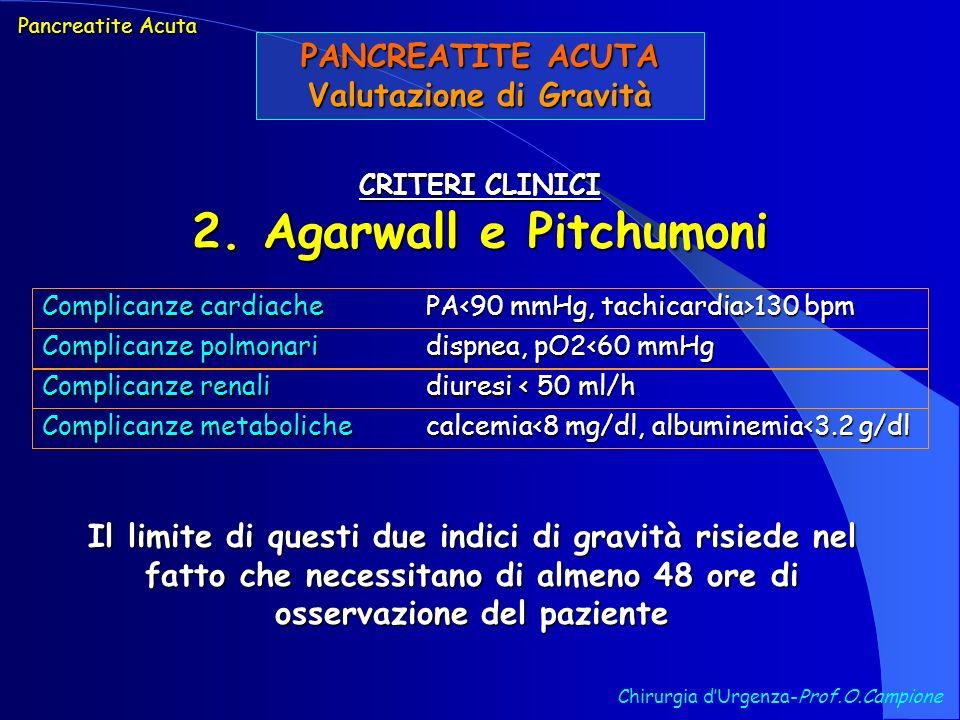 PANCREATITE ACUTA Valutazione di Gravità Chirurgia dUrgenza-Prof.O.Campione CRITERI CLINICI 2. Agarwall e Pitchumoni Pancreatite Acuta Complicanze car