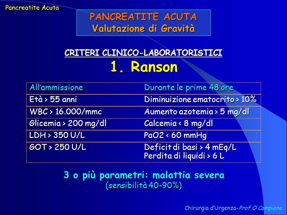 PANCREATITE ACUTA Valutazione di Gravità Chirurgia dUrgenza-Prof.O.Campione CRITERI CLINICO-LABORATORISTICI 1. Ranson Pancreatite Acuta AllammissioneD