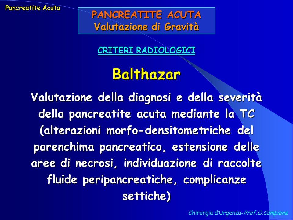PANCREATITE ACUTA Valutazione di Gravità Chirurgia dUrgenza-Prof.O.Campione CRITERI RADIOLOGICI Balthazar Pancreatite Acuta Valutazione della diagnosi